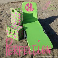 Pink and green monogrammed beach chair and totes Aka Sorority, Alpha Kappa Alpha Sorority, 1st Day Of Spring, Vinyl Monogram, Pink Apple, Beach Accessories, Girls World, Everything Pink, Cricut Vinyl