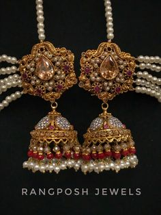 gold plated jhumkay in semi precious stones. Gold Plated Earrings, Drop Earrings, Indian Jewelry, Jewelery, Plating, Stone, Accessories, Spiritual, Culture