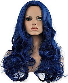 Diy-Wig Long Body Wave Wig Dark Blue Cosplay Wig for Women Everyday Wear Heat Resistance Long Curly Natural Wig (Dark Blue)