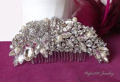 Pearl Bridal hair comb Swarovski hair comb by nefertitijewelry2009, $46.00