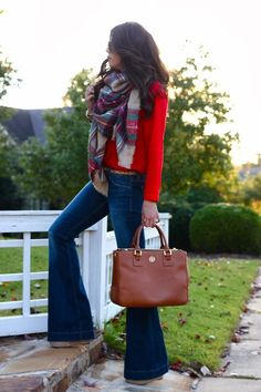 Wide leg jeans, red shirt, plaid scarf, leather tote