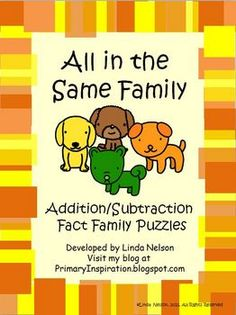 Free puzzles for addition and subtraction fact families