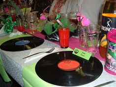 Add a vintage spalsh to your next dinner party! Pick up some old records at your local Goodwill and get creative!