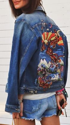 Golestaneh Street Style Embroidered Denim Jacket Fall Street Style