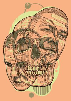 Fantastic Line Illustrations by Rustam QBic Salemgaraev {male face portraits skull}, illustration, art, Illustration Sketches, Graphic Design Illustration, Illustrations Posters, Graphic Art, Skull Illustration, Graffiti Artwork, Psy Art, Airbrush Art, Design Graphique