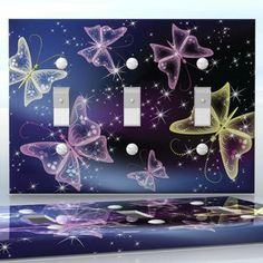 DIY Do It Yourself Home Decor - Easy to apply wall plate wraps | Midnight Butterflies Sparkling shining butterflies and stars wallplate skin sticker for 3 Gang Toggle LightSwitch | On SALE now only $5.95