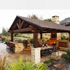 Backyard Pavilion, Backyard Patio Designs, Outdoor Living Areas, Outdoor Spaces, Outdoor Cooking Area, Outdoor Entertaining, Outdoor Kitchen Countertops, Laminate Countertops, Cottage Garden Design