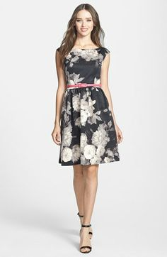 Eliza J Print Faille Fit & Flare Dress | Nordstrom Love the gray scale print with bright belt