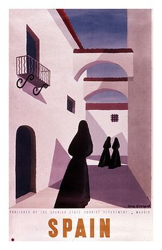 Spain prints 1950. Note the women, who are all dressed in black as if in mourning. The white plastered buildings are usually located in the South.