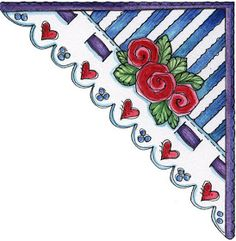Ilustration by Laurie Furnell Rug Making, Card Making, Scrapbook Paper, Scrapbooking, Rock Flowers, Corner Bookmarks, Photo Corners, Art Corner, Card Sentiments
