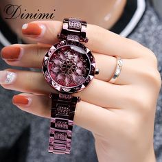 Dimini Fashion Luxury Women Watches Diamond Lady Watch Quartz Wrist Watch Stainl… - Home Decor Trendy Watches, Elegant Watches, Beautiful Watches, Cool Watches, Ladies Watches, Women's Watches, Analog Watches, Wrist Watches, Watches Online