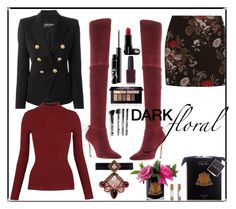 """Dark-red-floral"" by tiwik ❤ liked on Polyvore featuring Ganni, Balmain, Whistles, Pour La Victoire, Smashbox, Zimmermann, Torrid and Erickson Beamon"