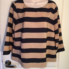 New J. Crew Black and Beige Brown Striped Blouse New (without tags)  J.Crew black and beige brown striped blouse size large. J. Crew Tops Blouses