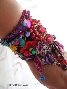 Rainbow Dance Bracelet Vintage Embroidery by AllThingsPretty