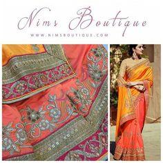 Maharani Silk Light & Dark Orange Royal Sari with Cream Embroidered unstitched blouse