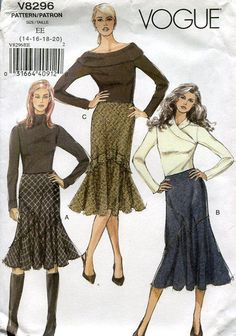 FREE US SHIP Vogue 8296 Bias Cut Flounce Skirt High Fashion Size 6 8 10 12 (Last size) Out of Print New Sewing Pattern Old Store Stock by LanetzLivingPatterns on Etsy