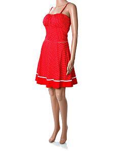 Červené bodkované krátke retro šaty Y.L.D.  Krátke červené retro bodkované šaty na ramienka s nastaviteľnou dĺžkou, so zapínaním na zips na chrbte a s červeným opaskom z rovnakého materiálu ako šaty. Opasok je vpredu prišitý, vzadu sa zaväzuje do mašle. Šaty majú vystužené košíky, sú pevnejšie, držia na sukni áčkový tvar. Materiál je kvalitná bavlna s prímesou elastanu.  http://www.yolo.sk/saty/cervene-bodkovane-retro-saty-yld