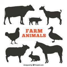 Siluetas de animales de granja Vector Gratis