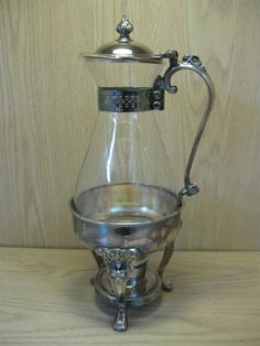 $29.95 Silver Plate Sheridan Glass Carafe Coffee Tea by NANCYSANTIQUES