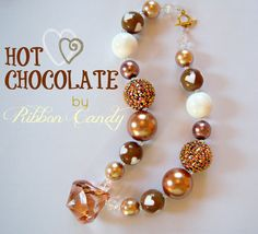 Chunky Necklace in Hot Chocolate for girls by ribboncandyhairbows, $25.00