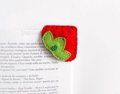 Strawberry felt corner bookmark back to por InspirationalGecko