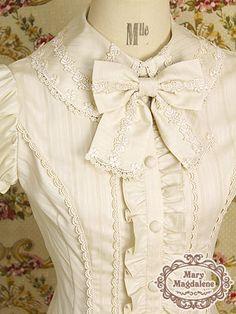 Mary Magdalene Dobby stripe short sleeve blouse