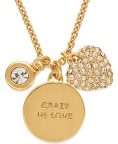kate spade new york Gold-Tone Charm Pendant Necklace - All Fashion Jewelry - Jewelry & Watches - Macy's