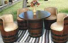 Turn old wine barrels into a unique rustic furniture set!   Crafts ...