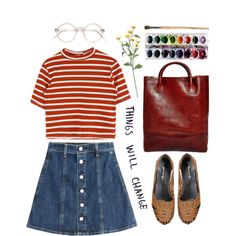 trouble with classicists by celluloid on Polyvore featuring AG Adriano Goldschmied, Mimi Loves Jimi, Libero Ferrero, vintage, stripes, jeanskirt and huaraches