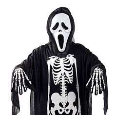 Halloween Costumes Suit of Skull Skeleton Ghost Clothes and Mask Gloves L *** Learn more by visiting the image link.