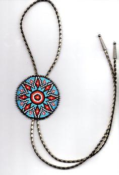 native american bead-work  Bolo tie