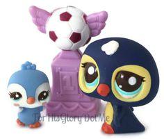 Littlest Pet Shop 2495 2496 Mommy Baby Penguin Bird Family Soccer Mom Blue L1833