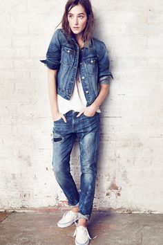 17 Styling Tricks EVERY Fashion Editor Knows #refinery29  http://www.refinery29.com/fashion-editor-style#slide3  The Double Denim Once considered the height of yokel-ish unsophistication, the Canadian tuxedo has been reclaimed by fashion types of late. Ease into the look with dark, drainpipe jeans and a raw-denim jacket. Then, work your way up to slouchy, medium blues.