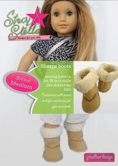 Sherpa Boots Doll Clothes Pattern for American Girl Dolls by Stacy and Stella