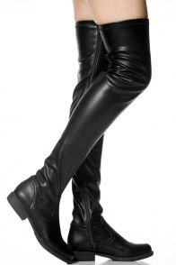 BLACK FAUX LEATHER MATERIAL SIDE ZIPPER OVER THE KNEE BOOTS #boots #overthekneeboots #blackboots #leatherboots #sexyboots #womenfashion Sexy Boots, Black Boots, Black Faux Leather, Leather Boots, Thigh High Boots Flat, Fashion Shoes, Fashion Accessories, Stylish Clothes For Women, Leather Material