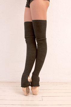 Ballet Beautiful - Store - Long Ribbed Legwarmers, Grey
