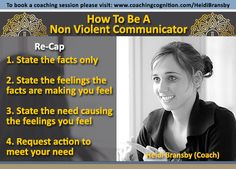 """How to be a non violent communicator. Steps 1, 2, 3 and 4""~ Heidi Bransby (Coach) www.coachingcognition.com/HeidiBransby"