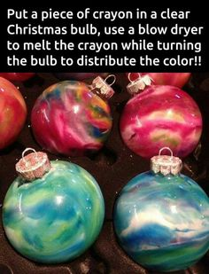Lovely DIY Ornaments For Kids Christmas Decoration : Colorful Melted Crayon Christmas Ornament for Stunning Christmas Tree Decoration to Mak. Noel Christmas, Diy Christmas Ornaments, Xmas Crafts, Christmas Projects, Winter Christmas, Christmas Bulbs, Diy Crafts, Clear Ornaments, Homemade Ornaments