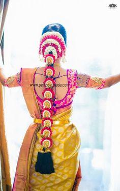 Pellipoolajada branches, all over AP/ Telangana/ Tamilnadu/ Karnataka/ Trivandrum / Mumbai/ Delhi /Singapore/ Australia and USA Order atleast 2 weeks in advance South Indian Wedding Hairstyles, Bridal Hairstyle Indian Wedding, Indian Bridal Hairstyles, Indian Bridal Makeup, Wedding Updo, Bridal Braids, Bridal Hairdo, Bridal Photoshoot, Saree Hairstyles