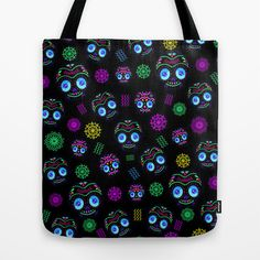 Calaverita Dark Pattern Tote Bag by carlos lerma - $22.00