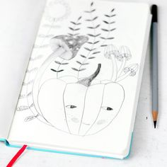 pumpkin illustration pencil sketch with mushrooms and flowers  - by PinkNounou