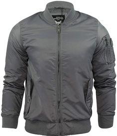 Men's Padded MA-1 Jacket (Grey, Medium) at Amazon Men's Clothing store Ma 1 Jacket, Nylon Bomber Jacket, Gray Jacket, Jacket Style, Mens Outdoor Jackets, Man Pad, Polyester Satin, S Star