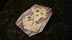 Hand forged Warhammer Orks emblem brooch. Copper and brass.