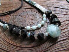 Boho Multi-strand Gemstone Necklace - MIDNIGHT ON the BAY - Aquamarine, Tourmaline, Gypsy, Hippie Chic, Adjustable Vegan Cord by ChiliroseCreative on Etsy