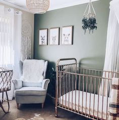 The original rose gold crib is on sale for off for a limited time! We love it paired with this gorgeous green wall, but it works for so many different style nurseries. TAP image to score yours now! Pink And Green Nursery, Gold Nursery, Nursery Twins, Nursery Neutral, Green Baby Rooms, Purple Nursery Decor, Neutral Nurseries, Nursery Room, Gold Kindergarten