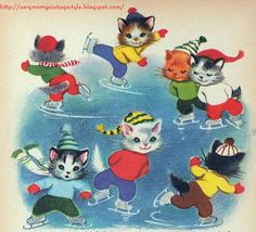 vintage book illustration of kittens ice skating-so cute! books today are not illustrated with these brilliant colors