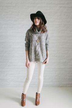 gray pullover sweater - white jeans - cognac ankle boots - black fedora - gold chevron necklace   un-fancy.com