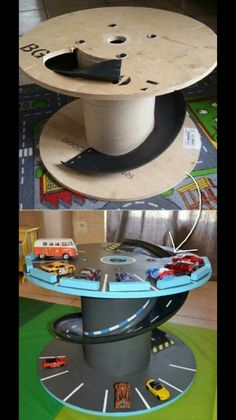 Turn a big cable spindle spool into a car toy for kids!