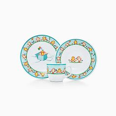 Tiffany Chicks three-piece baby set in ironstone ceramic.