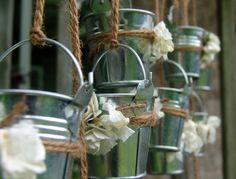 Rustic wedding favors mini galvanized pails Shabby Chic favor decorations set of 20 tin buckets